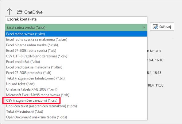Sačuvajte Excel datoteku kao CSV datoteku.