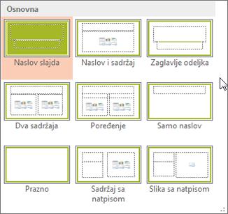 Rasporedi na slajdu u programu PowerPoint