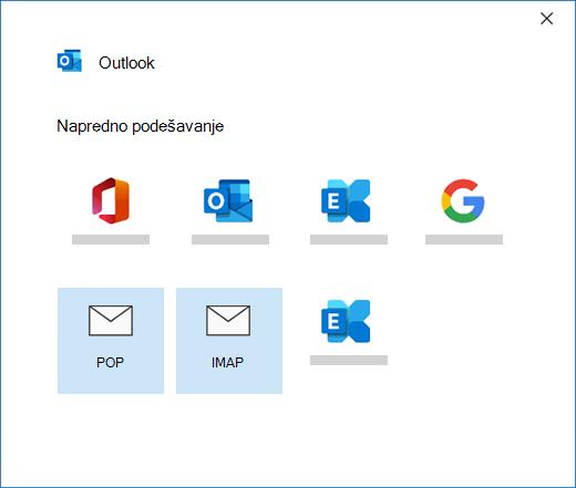 Izbor tipa naloga prilikom ručnog podešavanja naloga e-pošte u programu Outlook
