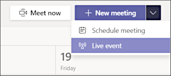 New meeting - Live event button