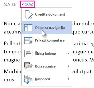 """Slika menija """"Prikaz"""" u režimu čitanja sa izabranom opcijom """"Okno za navigaciju""""."""