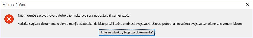 Dijalog koji označava da nije moguće sačuvati datoteku.