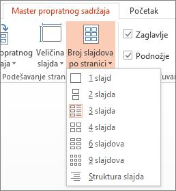 """Opcije stavke """"Broj slajdova po stranici"""""""
