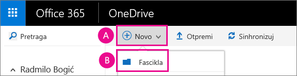Kreiranje nove fascikle u usluzi OneDrive for business.