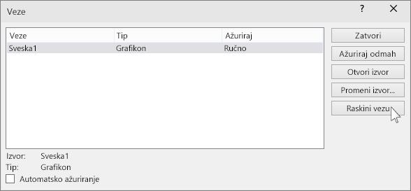 "prikazuje opciju ""Prekini vezu"" u programu powerpoint"