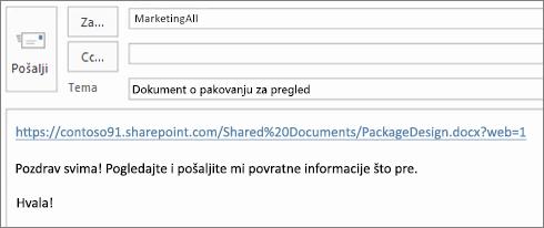 Pisanje e-poruku sa vezom