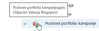 pojaviti kada ste miš iznad ikone dokumenta
