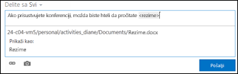 URL adresa dokumenta u poruci feeda za vesti oblikovana tekstom za prikaz