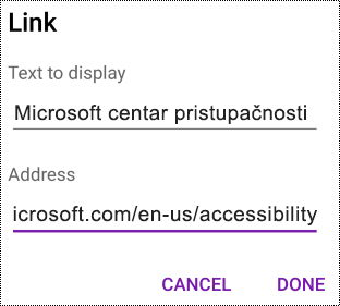 """Dijalog """"Dodavanje hiperveze"""" u programu OneNote za Android"""
