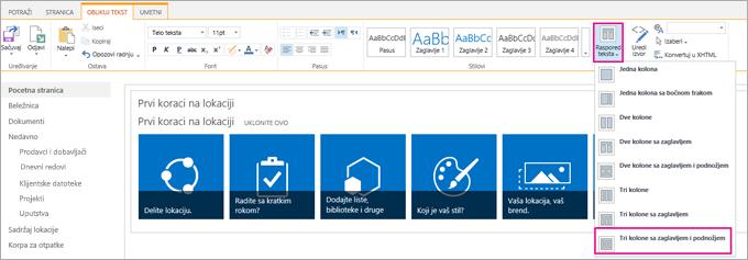 Slika koja prikazuje kako se bira raspored teksta za dizajn matične stranice.
