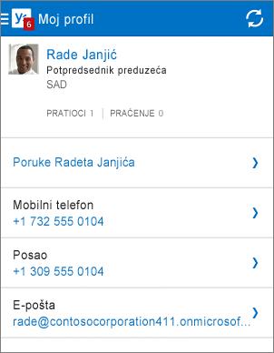 Stranica profila u Yammer aplikaciji