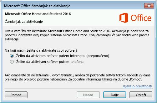 Prikazuje čarobnjak za aktivaciju sistema Microsoft Office.