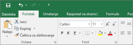 Prikazuje traku u programu Excel 2016 sa primenjenom šarenom temom