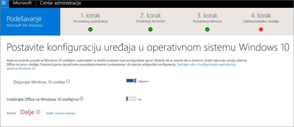 """Snimak ekrana stranice """"Priprema Windows 10 uređaja"""""""