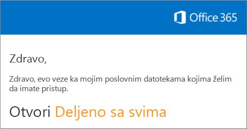 """Otvorite e-poruku i izaberite stavku """"Otvori veb lokaciju""""."""