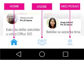 Delve za Android – glavni meni