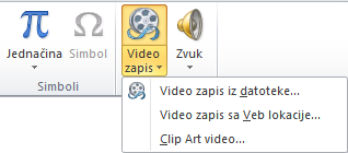 Dugme na traci za umetanje video zapisa na mreži u programu PowerPoint 2010