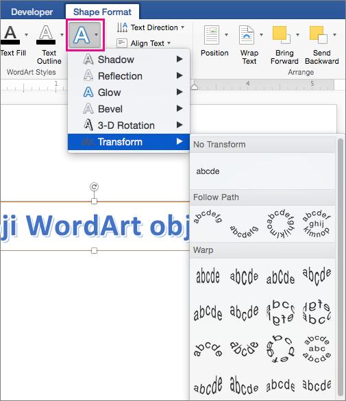 "Kartica ""Oblikovanje oblika"" sa markiranom opcijom ""Tekstualni efekti""."