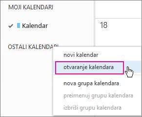 Outlook Web App – otvaranje menija kalendara