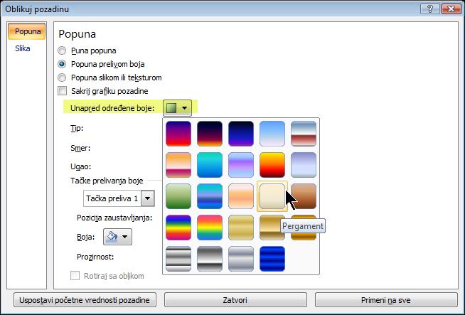 """Da biste koristili unapred određeni preliv, izaberite stavku """"Unapred određene boje"""", a zatim izaberite neku opciju."""