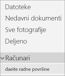 Leva navigacija OneDrive portala prikazuje razvijene menije računara