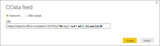 OData feed URL adrese za Power BI desktop