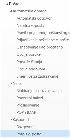 Outlook na vebu Potpis e-pošte