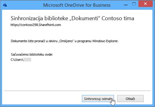 """Kliknite na dugme """"Sinhronizuj odmah"""" da biste započeli sinhronizaciju datoteka na lokaciji tima sa računarom."""