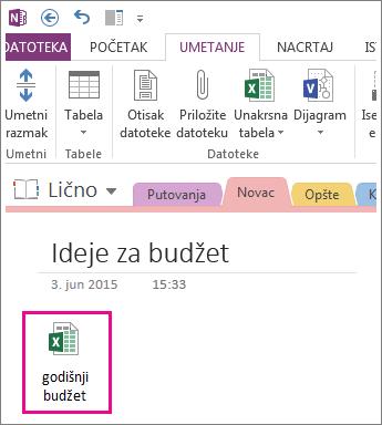 Umetanje postojeće Excel datoteke