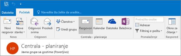 Evo kako izgleda u zaglavlju grupe u programu Outlook 2016