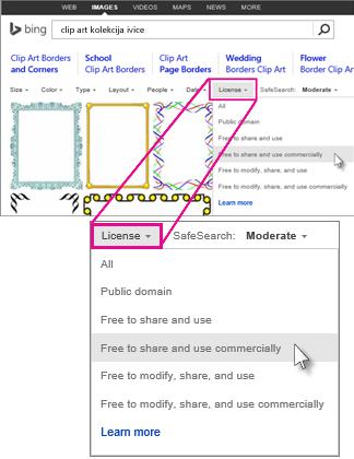 Potraži clip art ivice koristeći filter licence