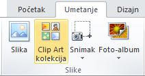 """Komanda """"ClipArt"""" na kartici """"Umetanje"""" na traci u programu PowerPoint 2010"""