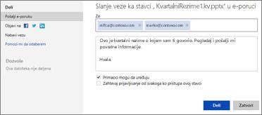 Slanje veze do prezentacije e-poštom