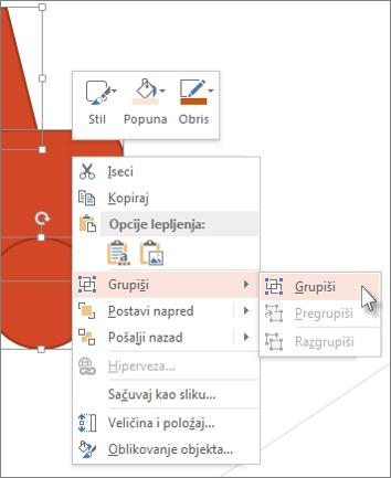 Izbor i grupisanje objekata na slajdu