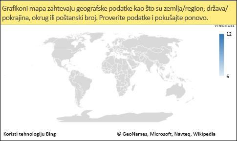 Excel grafikon mape sa nerazjašnjenim podacima