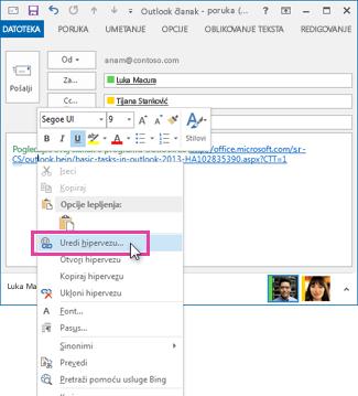 selecting 'Edit Hyperlink' from the shortcut menu