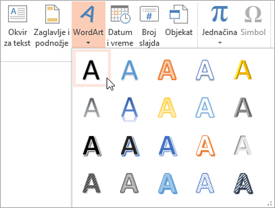 "Izbor WordArt stil na kartici ""Umetanje"""