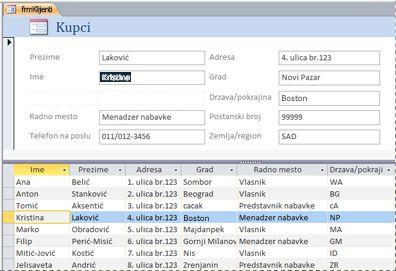 Razdeljeni obrazac u Access bazi podataka za računare