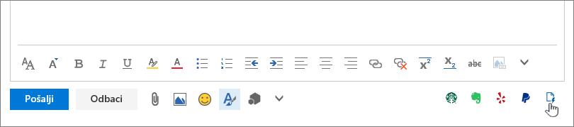 """Snimak ekrana donjem delu e-poruku, ispod oblasti za telo sa kursorom koji pokazuje na ikonu """"Moji predlošci"""" na krajnjoj desnoj."""