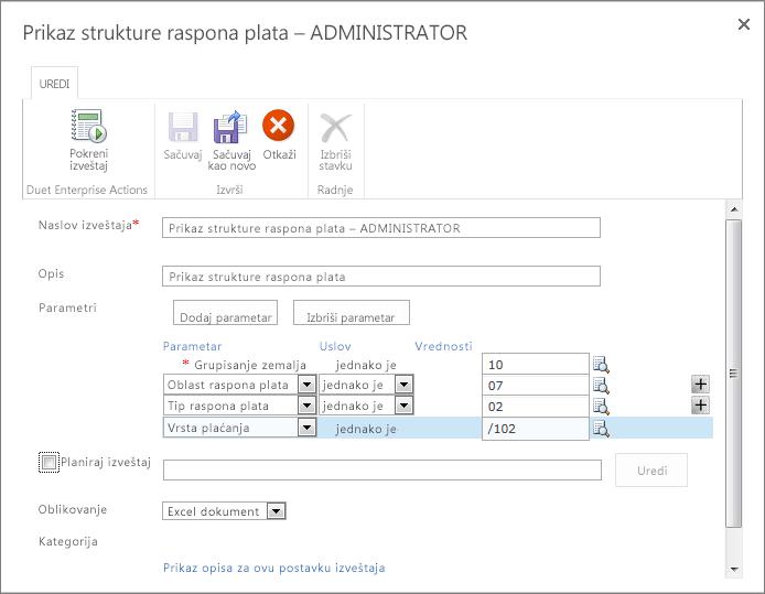 Parametre izveštaja