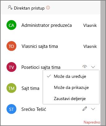 Snimak ekrana direktan pristup veze