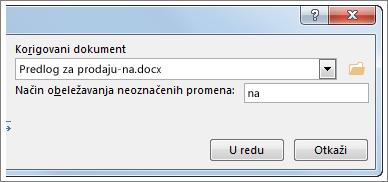 """Polje """"Korigovani dokument"""""""