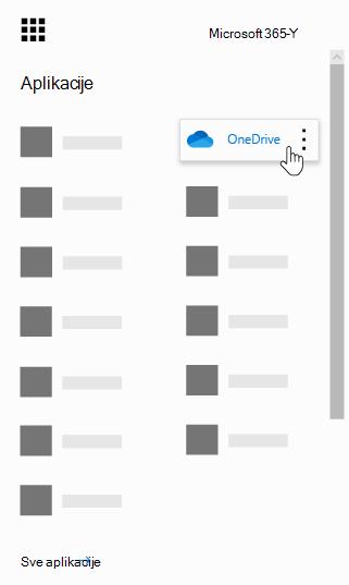 Pokretanje aplikacija usluge Office 365 sa istaknutom aplikacijom OneDrive