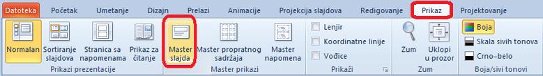 """Kartica """"Prikaz"""" u programu PowerPoint, gde možete da se prebacite na prikaz mastera slajda"""