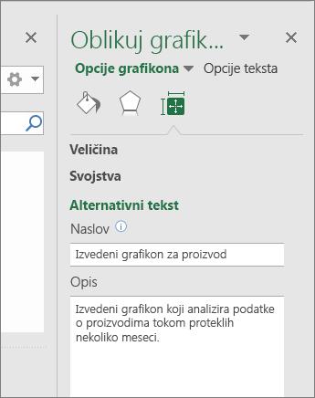 "Snimak ekrana oblasti alternativnog teksta okna ""Oblikovanje polja grafikona"" koji opisuje izabrani izvedeni grafikon"
