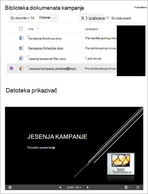 Primer Veb segmenta za prikaz datoteka koji je povezan sa bibliotekom dokumenata