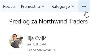 """Snimak ekrana dugmeta """"Još komandi"""" na traci menija u programu Outlook."""