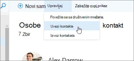 Snimak ekrana upravljanje komandi pomoću Uvoz kontakata koji su izabrani