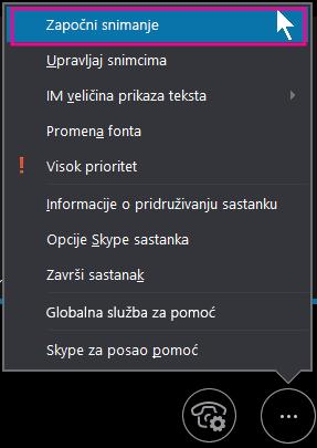 """Tokom Skype za posao sastanka, kliknite na dugme """"Započni snimanje"""""""