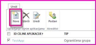 Snimak ekrana stranice SharePoint centra administracije za konfigurisanje SecureStore ciljne aplikacije.